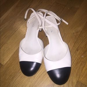 Chanel black cap sandals